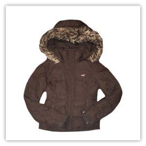 Hollister Puffer Coat With Fur Hood